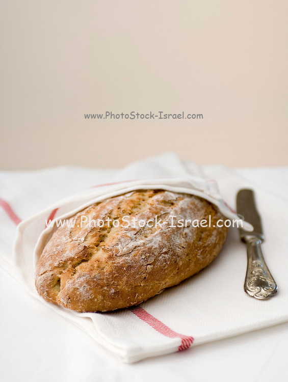 A loaf of freshly baked whole grain bread
