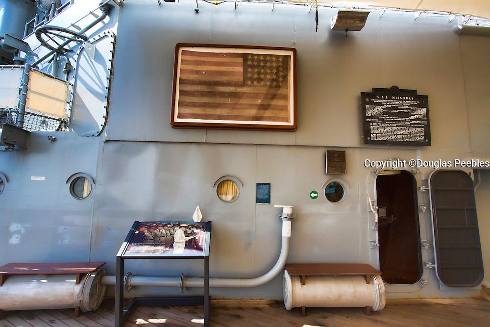 Perry Flag, USS Missouri Memorial, Ford Island, Pearl Harbor, Oahu, Hawaii