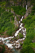 Waterfall in the Tongass National Forest, near Skagway, Alaska.