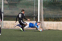 Trival Valderas's Kike and Real Madrid Castilla´s  Narvaez during 2014-15 Spanish Second Division B match between Trival Valderas and Real Madrid Castilla at La Canaleja stadium in Alcorcon, Madrid, Spain. February 01, 2015. (ALTERPHOTOS/Luis Fernandez)
