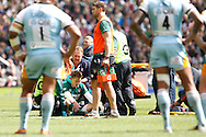 Picture by Andrew Tobin/Focus Images Ltd +44 7710 761829.25/05/2013. Toby Flood (C) of Leicester is injured after a late tackle by Courtney LAWES of Northampton during the Aviva Premiership match at Twickenham Stadium, Twickenham.
