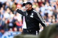 West Bromwich Albion Manager Tony Pulis shouts instructions. Barclays Premier League match, Stoke city v West Bromwich Albion at the Britannia stadium in Stoke on Trent, Staffs on Saturday 29th August 2015.<br /> pic by Chris Stading, Andrew Orchard sports photography.