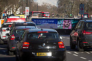 On the first day of his official 3-day visit to London, the face of Saudi Crown Prince Mohammed bin Salman appears on a large billboard at the entrance of the Hyde Park Corner underpass, on 7th March 2018, in London England. Industry sources said the Saudis could be spending close to £1m on the campaign, which includes dozens of prime poster sites around London and newspaper ads. He is bringing change to Saudi Arabia, the ads say, with a large photo of Crown Prince Mohammed bin Salman and the hashtag #ANewSaudiArabia.