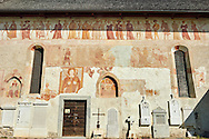 """Exterior of the Church of San Vigilio in Pinzolo and its fresco paintings """"Dance of Death"""" painted by Simone Baschenis of Averaria in1539, Pinzolo, Trentino, Italy .<br /> <br /> Visit our MEDIEVAL ART PHOTO COLLECTIONS for more   photos  to download or buy as prints https://funkystock.photoshelter.com/gallery-collection/Medieval-Middle-Ages-Art-Artefacts-Antiquities-Pictures-Images-of/C0000YpKXiAHnG2k<br /> If you prefer to buy from our ALAMY PHOTO LIBRARY  Collection visit : https://www.alamy.com/portfolio/paul-williams-funkystock/san-vigilio-pinzolo-dance-of-death.html"""