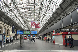 Police control inside the Gare de l'Est in Paris, France, on April 03, 2020, during the covid-19 emergency lockdown. Photo by Pierrick Villette/Avenir Pictures/ABACAPRESS.COM