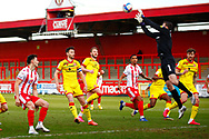 Goal keeper Roberts of Stevenage saving the penalty during the EFL Sky Bet League 2 match between Stevenage and Walsall at the Lamex Stadium, Stevenage, England on 20 February 2021.