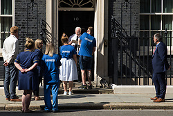 London, UK. 20th July, 2021. NHS Wales nurse Matthew Tovey presents his NHSPay15 petition signed by over 800,000 people calling for a 15% pay rise for NHS workers at 10 Downing Street accompanied by MPs Jeremy Corbyn, Lloyd Russell-Moyle and Ian Byrne and fellow campaigners. At the time of presentation of the petition, the government was believed to be preparing to offer NHS workers a 3% pay rise in 'recognition of the unique impact of the pandemic on the NHS'.
