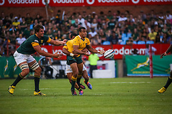 Will Genia is tackled by Rudy Paige and Eben Etzbeth during the Castle Lager Rugby Championship test match between South Africa and Australia held at Loftus Versfeld stadium in Pretoria on the 1st October 2016<br /> <br /> Photo by: Dominic Barnardt/ RealTime Images