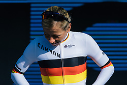 Trixi Worrack awaits her prizes on the podium - Ronde van Drenthe 2016, a 138km road race starting and finishing in Hoogeveen, on March 12, 2016 in Drenthe, Netherlands.