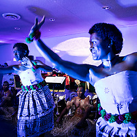 Fijian dancers perform during the reception by co-hosts (Sweden and Fiji) at The Ocean Conference at the UN on June 05, 2017.