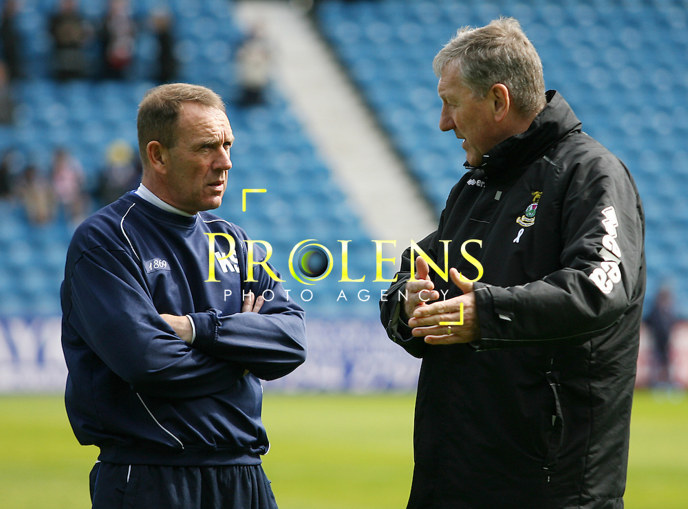 SPL Scottish Premier League  Kilmarnock FC v Inverness Caledonian Thistle  FC Season 2011-12.28-04-12...Kilmarnock manager Kenny Shiles and Inverness CT manager Terry Butcher during the SPL clash between Kilmarnock  FC and Inverness Caledonian Thistle FC. ..At Rugby Park Stadium , Kilmarnock..Saturday 28th April 2012.Picture Jonathan Faulds/ Prolens Photo Agency / PLPA