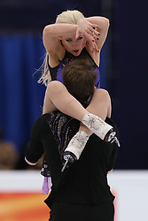 January 20, 2018 - Moscow, Russia - Penny Coomes and Nicholas Buckland of Britain perform during an ice dance free dance event at the 2018 ISU European Figure Skating Championships, at Megasport Arena in Moscow, on January 20, 2018. (Credit Image: © Igor Russak/NurPhoto via ZUMA Press)