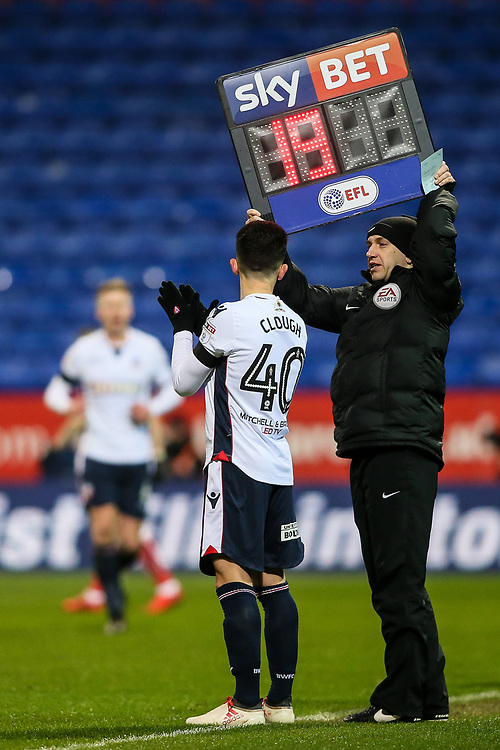 Bolton Wanderers' Zach Clough prepares to come on as a substitute<br /> <br /> Photographer Andrew Kearns/CameraSport<br /> <br /> The EFL Sky Bet Championship - Bolton Wanderers v Bristol City - Friday 2nd February 2018 - Macron Stadium - Bolton<br /> <br /> World Copyright © 2018 CameraSport. All rights reserved. 43 Linden Ave. Countesthorpe. Leicester. England. LE8 5PG - Tel: +44 (0) 116 277 4147 - admin@camerasport.com - www.camerasport.com