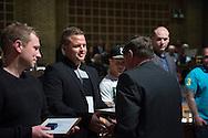 Legatuddeling. Aalborg Haandværkerforening, de lokale laug og mesterforeninger, Tech College Aalborg og Aalborg Kommune.<br /> Foto: © Michael Bo Rasmussen / Baghuset. Dato: 06.05.14