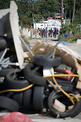 © Licensed to London News Pictures. 19/09/2011. Crays Hill, UK. A barricade within the grounds of Dale Farm. Activists and residents at the Dale Farm travellers site in Essex prepare for the council to enforce an eviction notice which is due to start today (19/09/2011). Photo credit: Ben Cawthra/LNP
