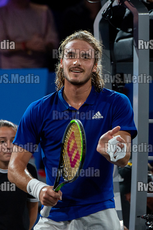 GENEVA, SWITZERLAND - SEPTEMBER 20: Stefanos Tsitsipas of Team Europe celebrates his win during Day 1 of the Laver Cup 2019 at Palexpo on September 20, 2019 in Geneva, Switzerland. The Laver Cup will see six players from the rest of the World competing against their counterparts from Europe. Team World is captained by John McEnroe and Team Europe is captained by Bjorn Borg. The tournament runs from September 20-22. (Photo by Robert Hradil/RvS.Media)