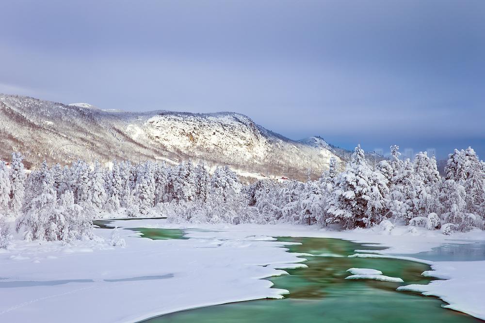 River in Winterlandscape, Dagali, Norway   Elv i vinterlandskap, Dagali, Norge