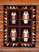 Great horned owl quilt made by Randi Hirschmann, Wasilla, Alaska.