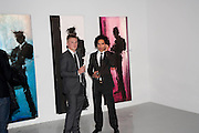LOUIS SNOWLING; REES RITCHIE, Richard Hambleton private view.- New York- Godfather of Street art presented by Vladimir Restoin Roitfeld and Andy Valmorbida in collaboration with Giorgio armani. The Old Dairy. London. 18 November 2010. -DO NOT ARCHIVE-© Copyright Photograph by Dafydd Jones. 248 Clapham Rd. London SW9 0PZ. Tel 0207 820 0771. www.dafjones.com.