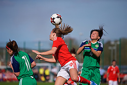 YSTRAD MYNACH, WALES - Wednesday, April 5, 2017: Wales' Kayleigh Green heads the ball clear during the Women's International Friendly match against Northern Ireland at Ystrad Mynach. (Pic by Laura Malkin/Propaganda)