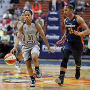 UNCASVILLE, CONNECTICUT- MAY 05:  Sydney Colson #5, (left),  of the San Antonio Stars  drives past Alyssa Thomas #25 of the Connecticut Sun during the San Antonio Stars Vs Connecticut Sun preseason WNBA game at Mohegan Sun Arena on May 05, 2016 in Uncasville, Connecticut. (Photo by Tim Clayton/Corbis via Getty Images)