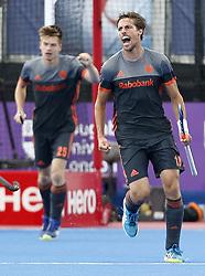 Netherlands' Bjorn Kellerman celebrates scoring their second goal during the Men's World Hockey League, semi-final match at Lee Valley Hockey Centre, London.
