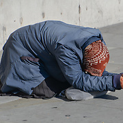 A beggar in Trafalgar Square, London, UK 24 October 2018