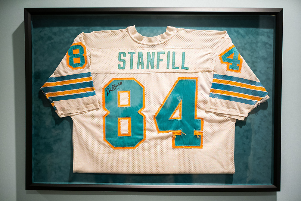 The jersey of Bill Stanfill from the 1972 Miami Dolphin season, photographed at the home of his son, Stan Stanfill, outside Athens, Ga on Wednesday, January 22, 2020. The sleeves were cut so his children could wear it as a nightgown when they were small.<br /> <br /> Stan Stanfill and his siblings are going public with the fact that their father, Bill Stanfill, suffered from CTE. Bill Stanfill played several years for the Dolphins, including their famed 1972 season in which they went undefeated and won Super Bowl VII. Photo by Kevin D. Liles for The New York Times