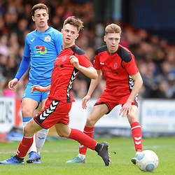TELFORD COPYRIGHT MIKE SHERIDAN 16/2/2019 - Ryan Barnett of AFC Telford (on loan from Shrewsbury Town Football Club) and Henry Cowans of AFC Telford during the Vanarama Conference North fixture between Stockport County and AFC Telford United at Edgeley Park