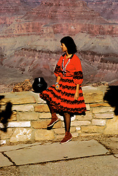 AZ, Arizona, Indian young woman, Navajo squash blossom necklace and jewelry, Santa Clara pottery bowl, Grand Canyon National Park, Arizona.Photo Copyright: Lee Foster, lee@fostertravel.com, www.fostertravel.com, (510) 549-2202.azgran209