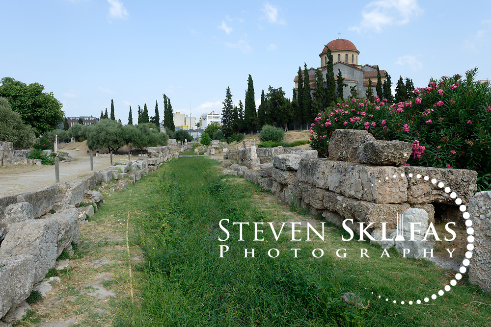 The ancient  sacred Eridanos River which flows through the archaeological site of Kerameikos. Athens. Greece.