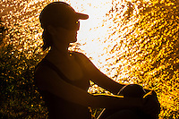 Silhouette of young woman, Baie des Citrons, Noumea, Grand Terre, New Caledonia