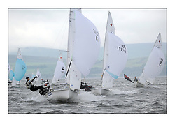 470 Class European Championships Largs - Day 1.Racing in grey and variable conditions on the Clyde..SLO64, Tina MRAK, Teja CERNE, Jk Pirat Portoroz .