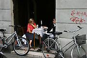 Krakow, Poland café in summer.