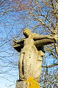 Stone sculpture artwork Jesus Christ crucifixion, Leiston Priory, Suffolk, England, UK