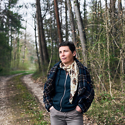 Dominique Moreau, Champagne Marie-Courtin, in a wood near her vineyard. Polisot, France. April 12, 2018.<br /> Dominique Moreau, Champagne Marie-Courtin, dans le bois jouxtant son champs de vigne. Polisot, France. 12 avril, 2018.