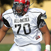 La'El Collins during the practice session at the Walt Disney Wide World of Sports Complex in preparation for the Under Armour All-America high school football game on December 3, 2011 in Lake Buena Vista, Florida. (AP Photo/Alex Menendez)