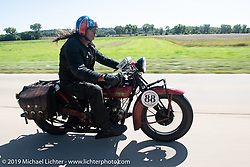 Doug Wothke riding his 1928 Indian 101 Scout in the Motorcycle Cannonball coast to coast vintage run. Stage 6 (260 miles) from Bourbonnais, IL to Cedar Rapids, IA. Thursday September 13, 2018. Photography ©2018 Michael Lichter.