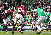 The William Hill Scottish FA Cup Final 2012 Hibernian Football Club v Heart Of Midlothian Football Club..19-05-12...Hearts Rudi Skacel fires home to make it 2-0        during the William Hill Scottish FA Cup Final 2012 between (SPL) Scottish Premier League clubs Hibernian FC and Heart Of Midlothian FC. It's the first all Edinburgh Final since 1986 which Hearts won 3-1. Hearts bid to win the trophy since their last victory in 2006, and Hibs aim to win the Scottish Cup for the first time since 1902....At The Scottish National Stadium, Hampden Park, Glasgow...Picture Mark Davison/ ProLens PhotoAgency/ PLPA.Saturday 19th May 2012.