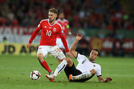 Aaron Ramsey of Wales is tackled by Stefan Ilsanker of Austria. Wales v Austria , FIFA World Cup qualifier , European group D match at the Cardiff city Stadium in Cardiff , South Wales on Saturday 2nd September 2017. pic by Andrew Orchard, Andrew Orchard sports photography