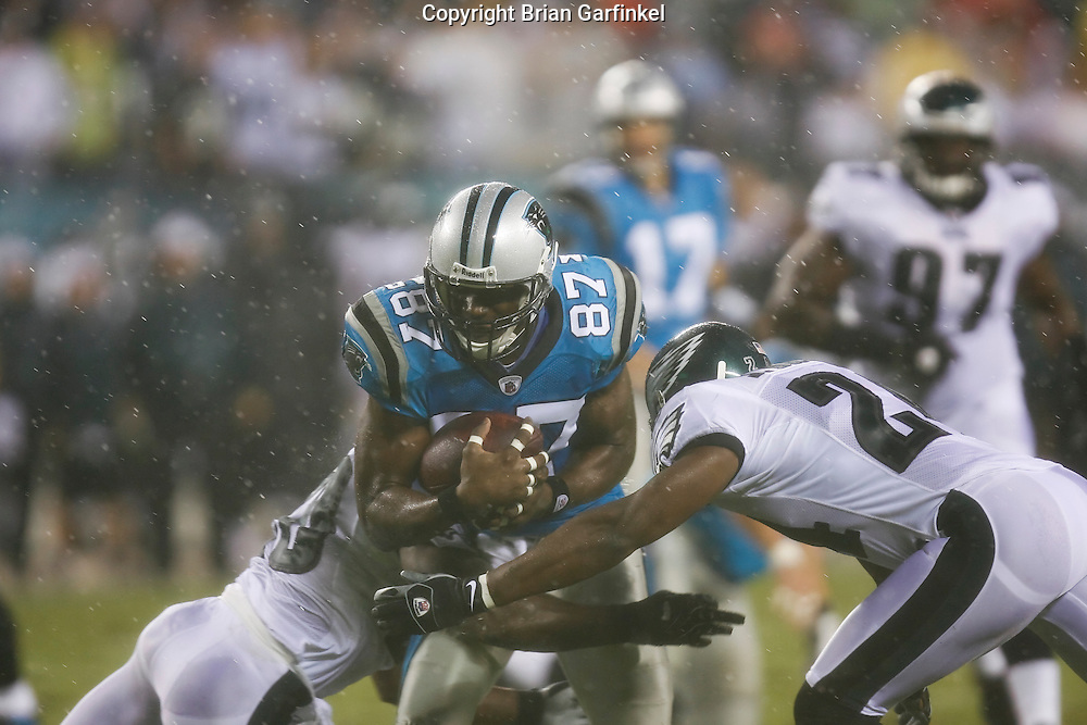 8 August 2008: Carolina Panthers wide receiver Muhsin Muhammad #87 tries to run through Eagles Defenseman during the game against the Philadelphia Eagles on August 14, 2008. The Eagles beat the Panthers 24 to 13 at Lincoln Financial Field in Phialdelphia, Pennsylvania.