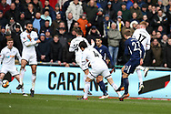 Christian Eriksen of Tottenham Hotspur shoots through a crowd of Swansea city players to score his teams 3rd goal.The Emirates FA Cup, quarter-final match, Swansea city v Tottenham Hotspur at the Liberty Stadium in Swansea, South Wales on Saturday 17th March 2018.<br /> pic by  Andrew Orchard, Andrew Orchard sports photography.