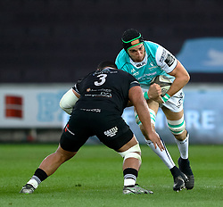 Connacht's Ultan Dillane lines up Ospreys' Ma'afu Fia<br /> <br /> Photographer Simon King/Replay Images<br /> <br /> Guinness PRO14 Round 19 - Ospreys v Connacht - Friday 6th April 2018 - Liberty Stadium - Swansea<br /> <br /> World Copyright © Replay Images . All rights reserved. info@replayimages.co.uk - http://replayimages.co.uk