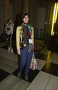 """Bella Freud. The private views for Anna Piaggi's exhibition """"Fashion-ology"""" and also 'Popaganda: the life and style of JC de Castelbajacat' the Victoria & Albert Museum on January 31  2006. © Copyright Photograph by Dafydd Jones 66 Stockwell Park Rd. London SW9 0DA Tel 020 7733 0108 www.dafjones.com"""
