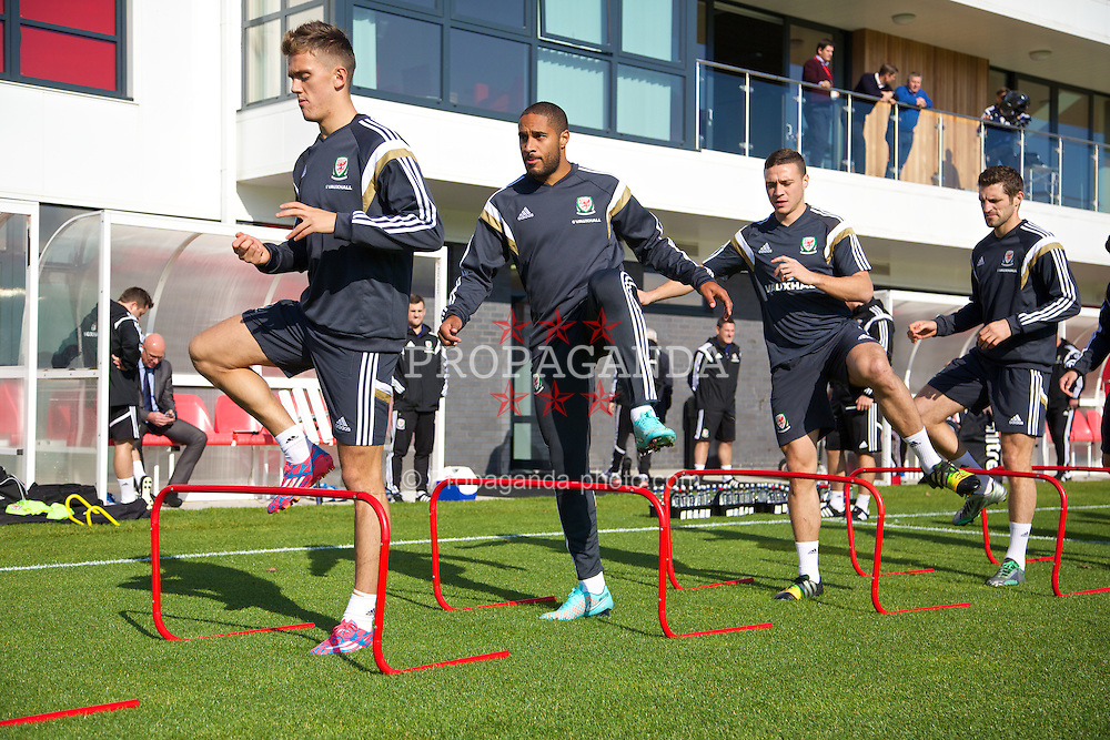 NEWPORT, WALES - Tuesday, October 7, 2014: Wales' Emyr Huws, captain Ashley Williams, James Chester and Sam Ricketts training at Dragon Park National Football Development Centre ahead of the UEFA Euro 2016 qualifying match against Bosnia and Herzegovina. (Pic by David Rawcliffe/Propaganda)