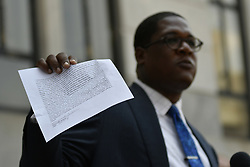 June 13, 2017 - Norristown, Pennsyvlania, United States - Bill Cosby spokesperson Andrew Wyatt reads a statement from Marguerita Jackson, outside Montgomery County Court House, in Norristown, Pennsylvania, on June 13, 2017. (Credit Image: © Bastiaan Slabbers/NurPhoto via ZUMA Press)