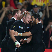 Tony Woodcock, (left), New zealand, is congratulated by team mate Piri Weepu after scoring a try during the New Zealand V France Final at the IRB Rugby World Cup tournament, Eden Park, Auckland, New Zealand. 23rd October 2011. Photo Tim Clayton...