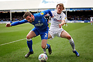 Wycombe forward Alex Samuel (25) and Peterborough Utd defender Jason Naismith (2) during the EFL Sky Bet League 1 match between Peterborough United and Wycombe Wanderers at London Road, Peterborough, England on 2 March 2019.
