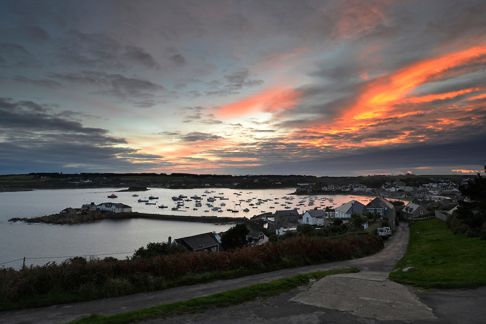 Dawn over the harbour and Hugh Town from The Garrison, St Mary's, Isles of Scilly