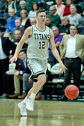 BLOOMINGTON, IL - December 15: Jason Gregoire during a college basketball game between the IWU Titans  and the Carroll Pioneers on December 15 2018 at Shirk Center in Bloomington, IL. (Photo by Alan Look)